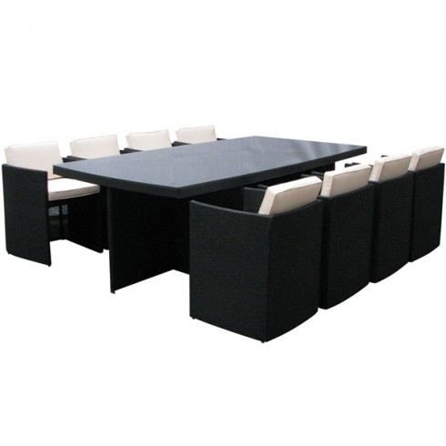 salon de jardin design encastrable 8 places achat. Black Bedroom Furniture Sets. Home Design Ideas