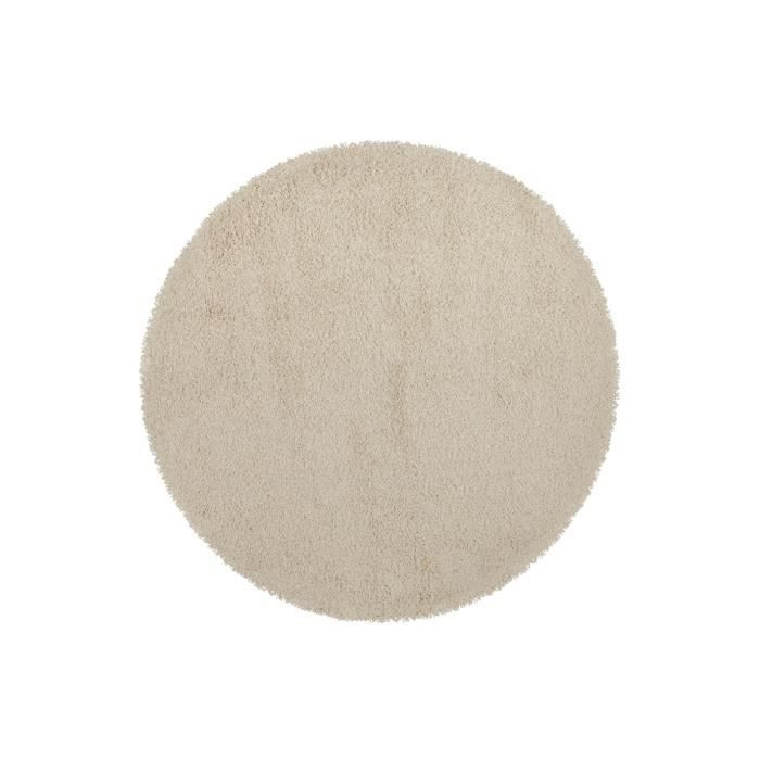 tapis shaggy rond 160 beige round achat vente tapis cdiscount. Black Bedroom Furniture Sets. Home Design Ideas