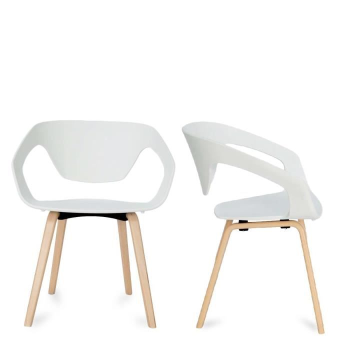 lot de 2 chaises design scandinave danwood couleur blanc achat vente chaise blanc cdiscount. Black Bedroom Furniture Sets. Home Design Ideas