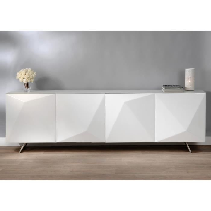 buffet design blanc glossy prisme 240 cm achat vente buffet bahut buffet design blanc. Black Bedroom Furniture Sets. Home Design Ideas