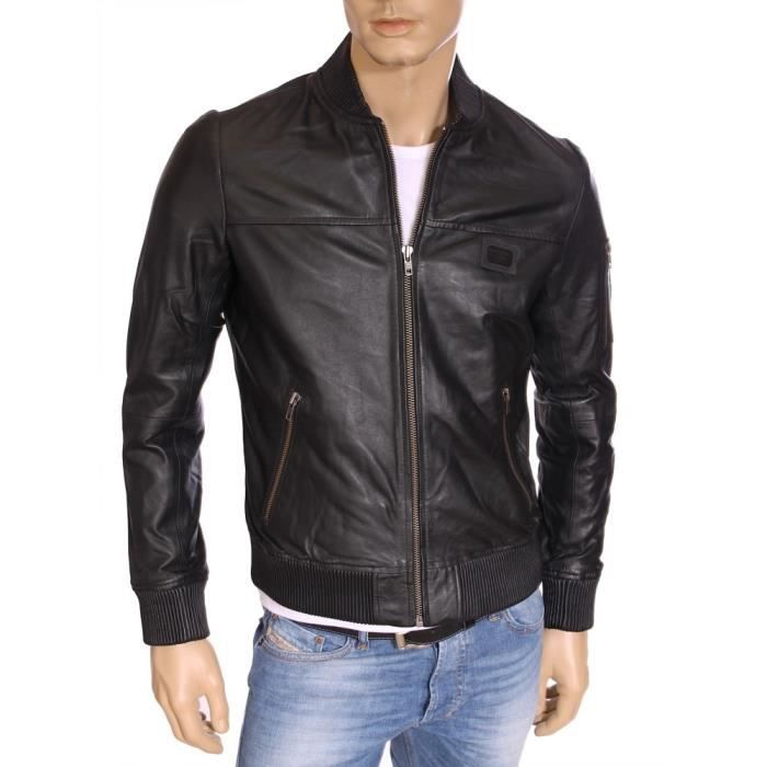kaporal veste en cuir bomber aviateur homme wango noire noir noir achat vente veste. Black Bedroom Furniture Sets. Home Design Ideas