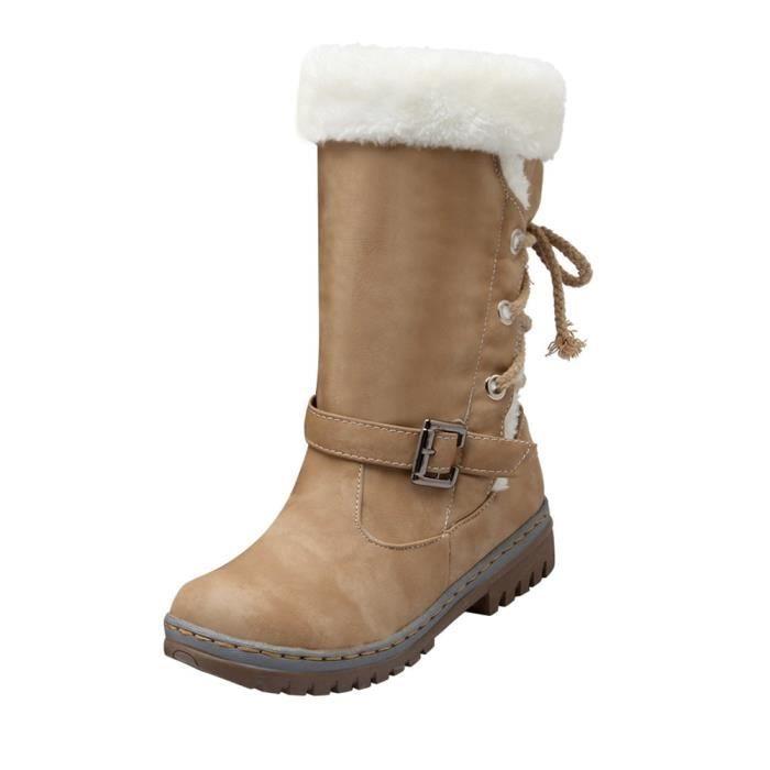 Classiques Bottes de neige Femme Mode Talons Chaussures plates Bottes d'hiver chaudes de fourrure 7674