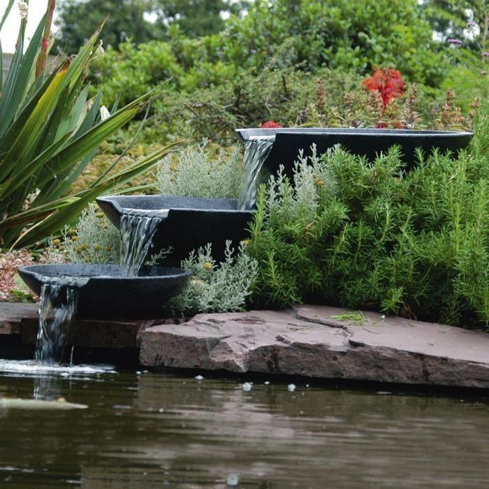 Fontaine de jardin Cascade 3 vasques avec pompe 35/45/55 cm