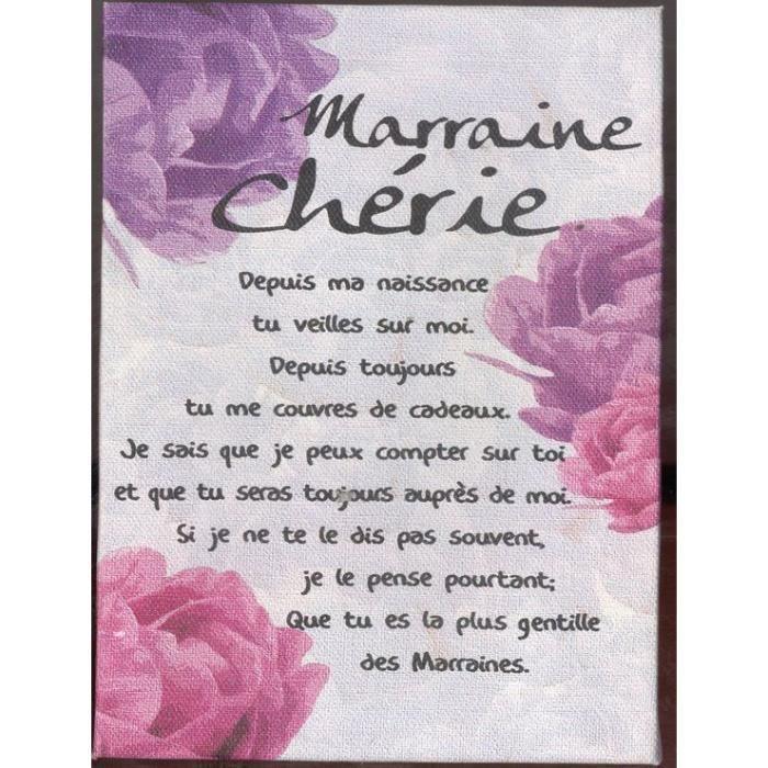 Poeme Sur Toile 17x11cm Marraine Chérie Achat Vente