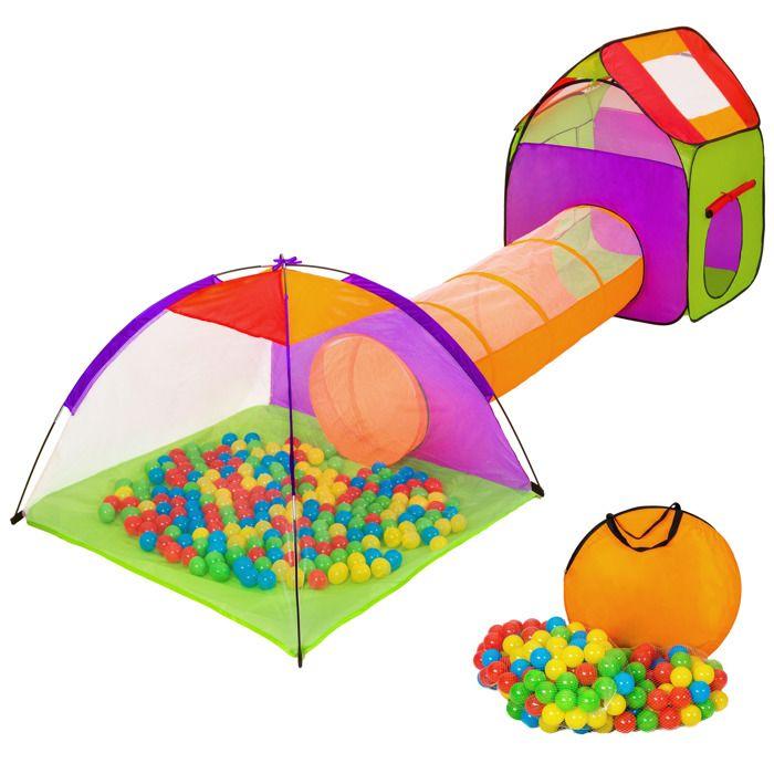 TENTE TUNNEL D'ACTIVITÉ TECTAKE Tente enfant avec Tunnel de jeu + 200 Ball