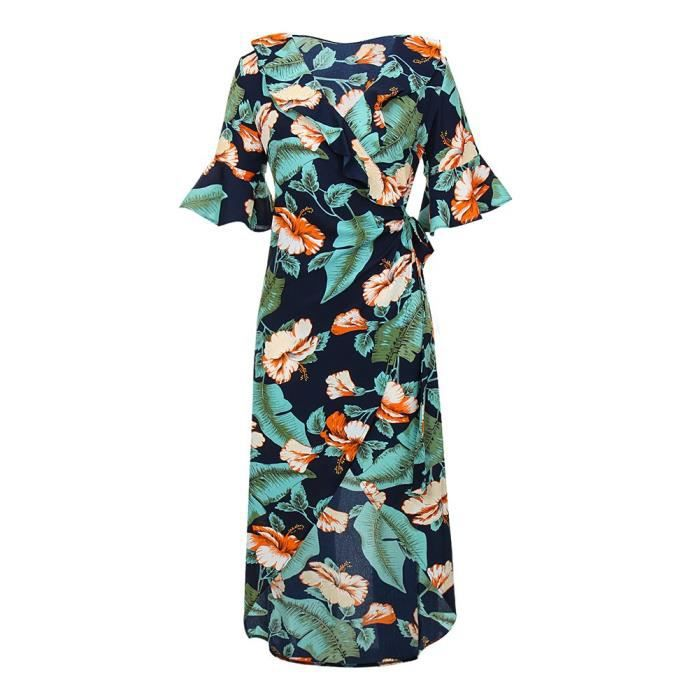 Womens Lover-beauty 3-4 Sleeve Chiffon Dresses V Neck Summer Floral Print Maxi Dress 2Y0CPW Taille-38
