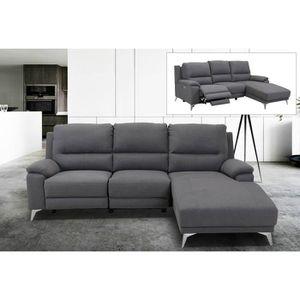 CANAPÉ - SOFA - DIVAN Canapé d'angle relax électrique en tissu gris avec