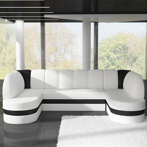 CANAPÉ - SOFA - DIVAN Canapé panoramique convertible blanc et noir DEBOR