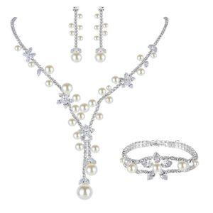 EVER FAITH/® Cristal Autrichien Perle Artificielle Blanc Parures Bijoux Transparent El/égant