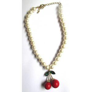 PENDENTIF VENDU SEUL collier perle blanche avec 1 paires de cerise 3D 5