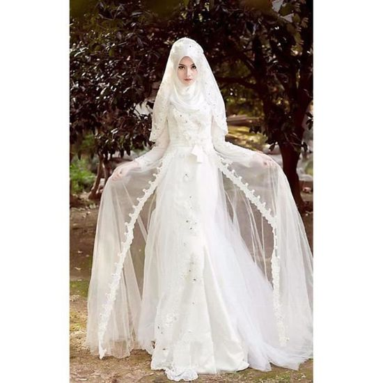 Robe de Mariage Longue Musulmane avec Hijab
