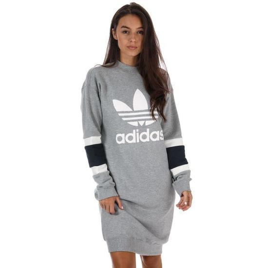 Robe pull adidas Originals Col rond Spour femme en gris chiné ...