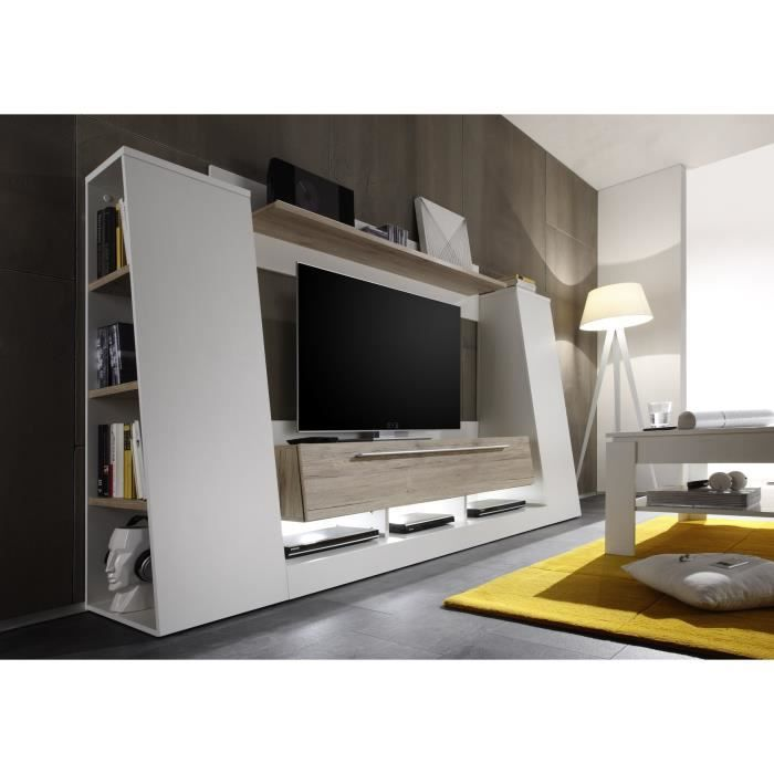 Medialine meuble tv mural 250cm blanc achat vente meuble tv medialine meuble tv 250cm - Meuble tv mural cdiscount ...