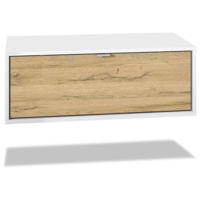 Meuble TV Lana 140 armoire murale lowboard 140 x 29 x 37 cm, caisson en blanc mat, façades en Chêne Nature
