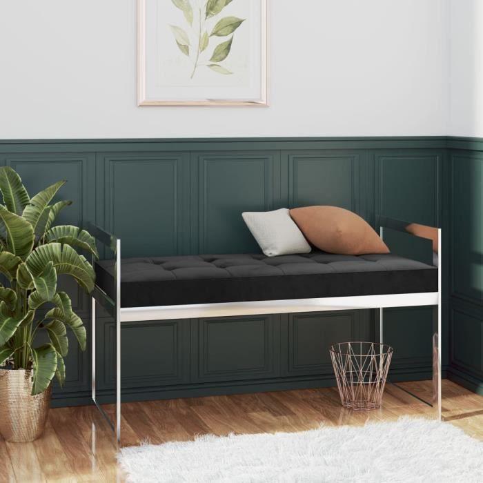 Banc à chaussures avec coussin Velours et acier inoxydable - 97 x 44 x 46 cm - Style contemporain - Noir