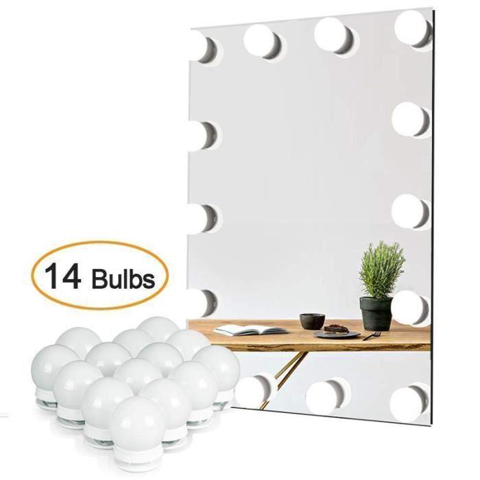 kit de lumière LED pour miroir de courtoisie de Hollywood pour maquillage,lampe de coiffeuse table 14 ampoules LED[Classe énergétiqu