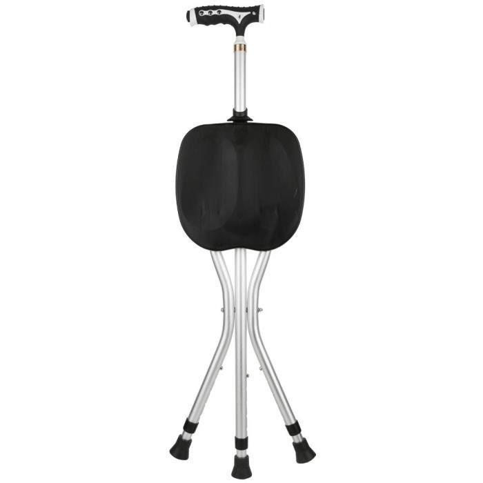 Chaise pliante marche sièges 3 jambes poignée rétractable canne tabouret bâton avec lumière LED pour personnes âgées (noir)