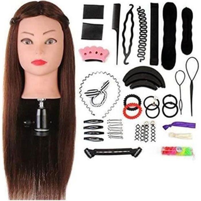 Tête À Coiffer Professionnelle Neverland Beauty 60cm Têtes d'exercice Coiffure Cosmétologie Pratique Mannequin Poupée Cheveux+ Titu