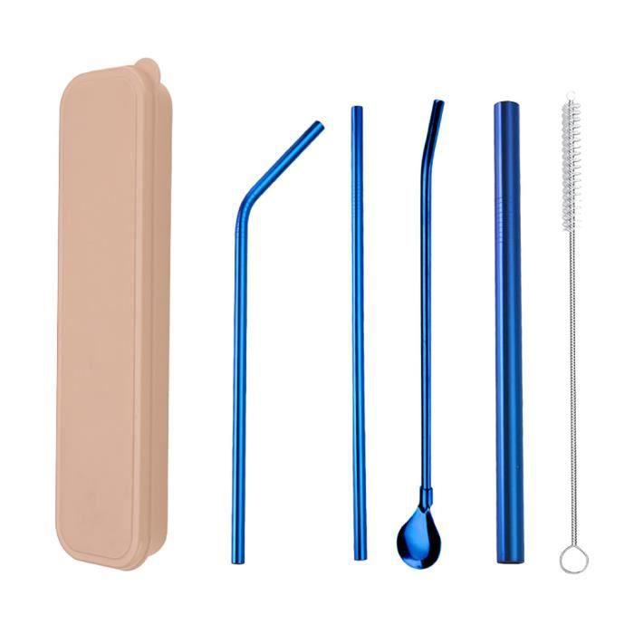 Ensemble de paille en acier inoxydable 304 coloré, boîte kaki, ensemble de 4 pièces en paille bleue