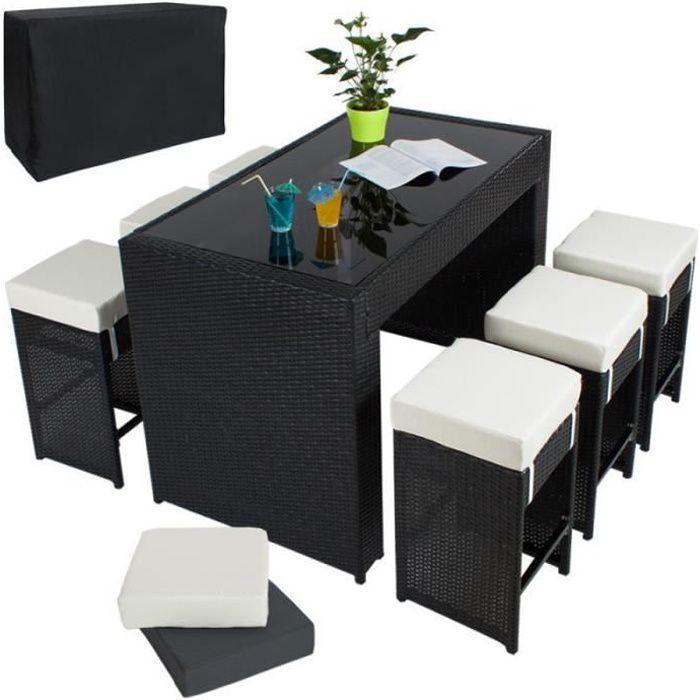 Table haute salon de jardin rotin résine tressé synthétique + 6 tabourets rotin noir 210814