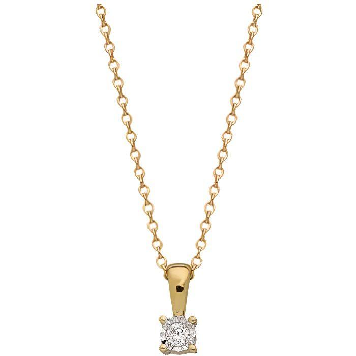 Collier Brillaxis solitaire diamant or jaune - Matière:Or 9K 375/1000 Taille/Longueur:45 cm