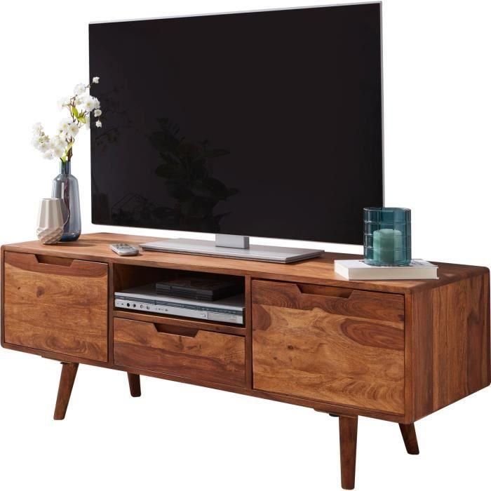 Meuble tv design marron rustique en acier L. 135 x P. 45 x H. 51 cm collection Yuna Marron