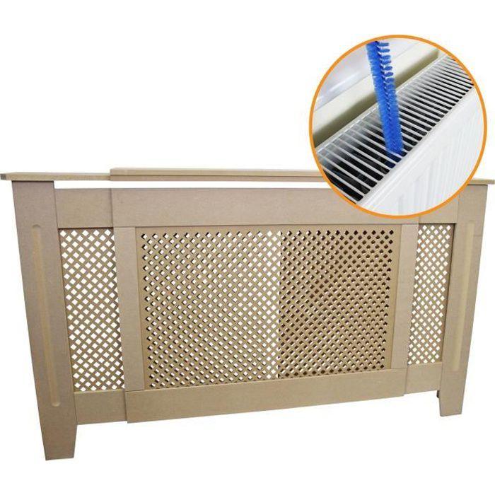 Cache Radiateur Ajustable à Motif Grillagé en MDF Naturel Personnalisable de 140cm à 192cm de Large x 82cm de Haut x 20,5cm Pro