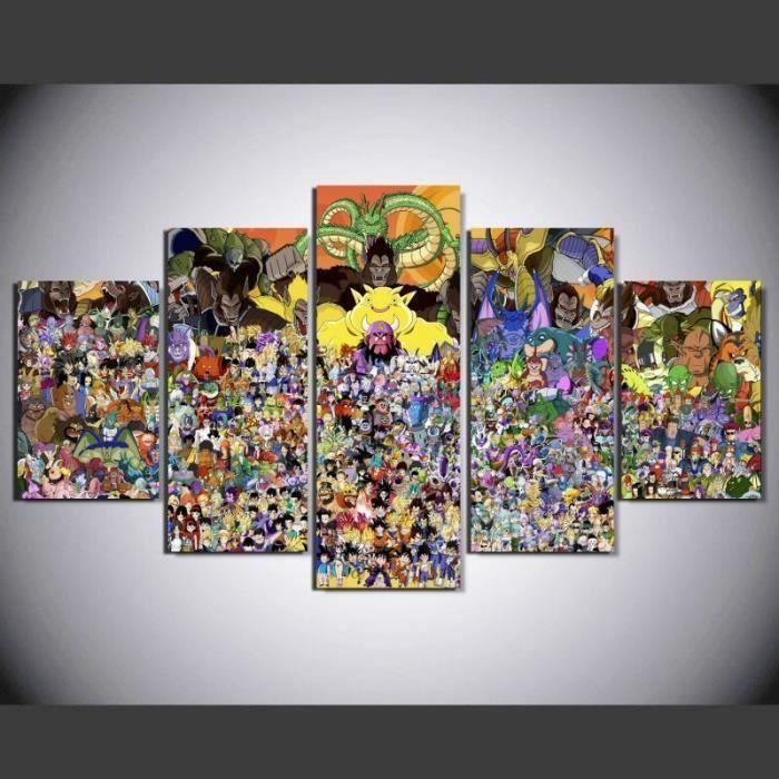 MOR 5 Pièces Dragon Ball Animés Personnages de Dessin Animé Accueil Mur Décor toile Photo Art Impression(pas étiré pas encadré)