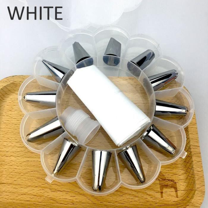 Convertisseur de buses en plastique accessoires de cuisine Accessoires de cuisine en acier inoxydable 14 pièces outils - Type WHITE