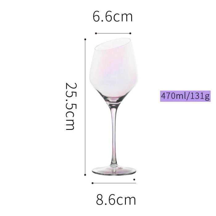 Verres à vin,Verre de cristal plaqué ion arc en ciel Coupe de verre à vin,verres de champagne,Bar hôtel fête maison - Type 470ml