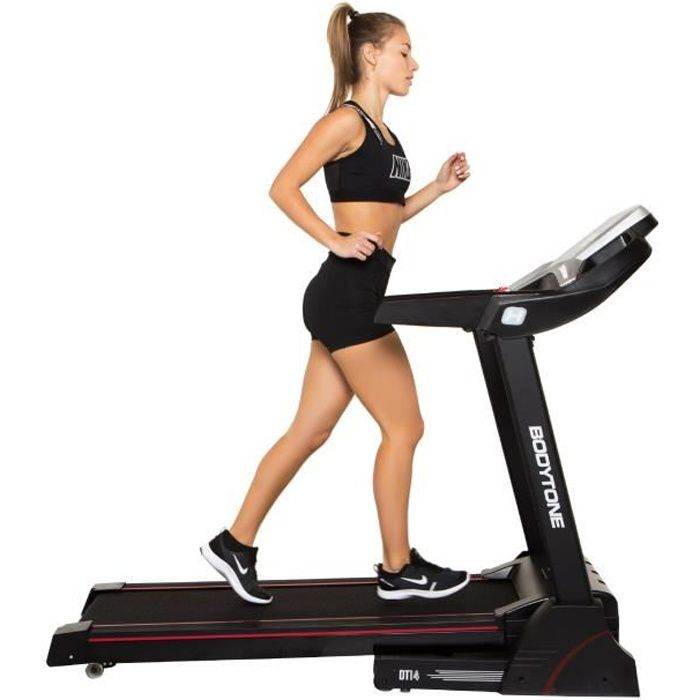 BODYTONE - Tapis de course DT14 - 14 KM/H - Pliable - Inclinaison 3 positions - Ecran LED - 12 Programmes
