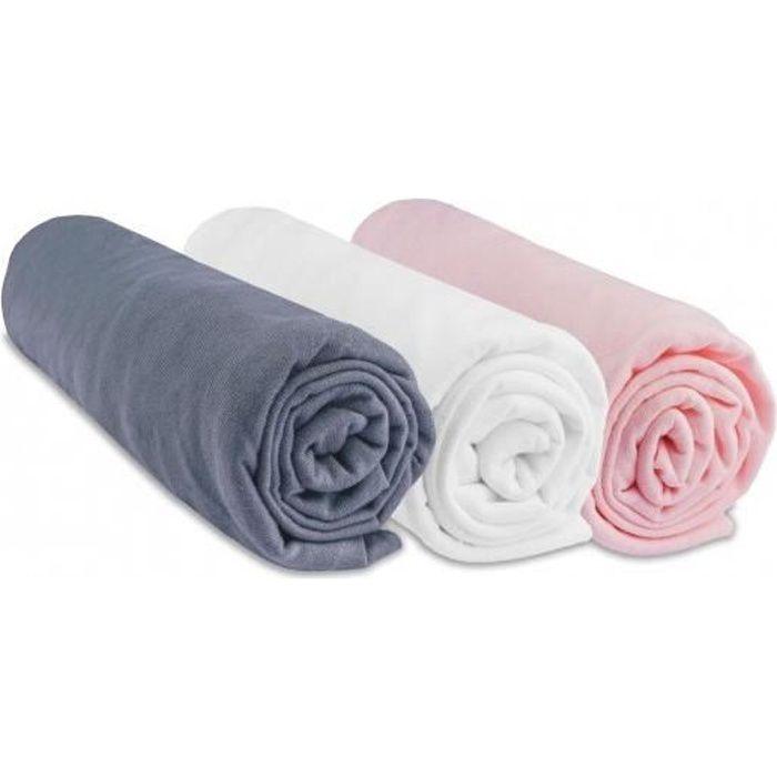 Lot de 3 draps housse coton 60x120 gris blanc rose