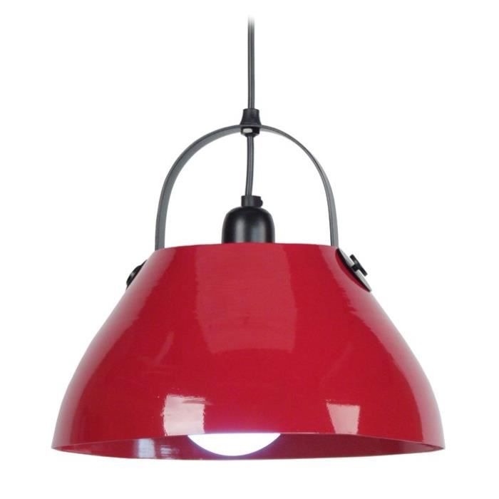 CLOCHE BARRE Suspension acier 30x30x80 cm Rouge