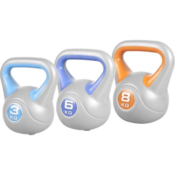 GORILLA SPORTS ® Lot de 3 kettlebells en plastique STYLISH (3, 6 et 8 KG) - haltères russes bicolores