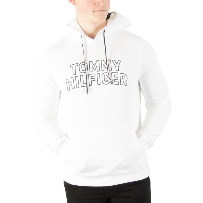 Tommy Hilfiger Homme Chandail à capuchon avec logo, Blanc