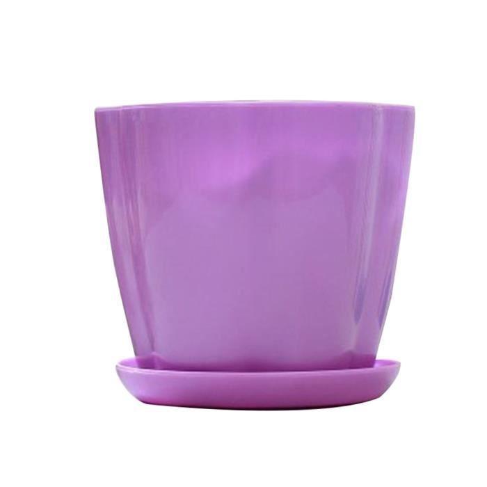 WEKA PP résine de type citrouille pot de fleurs plante succulente fleur pétale W-plateau de soucoupe Violet S
