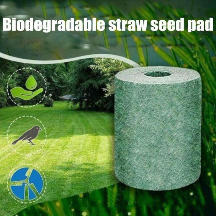Tapis de mélange de graines d'herbe verte - Tapis de graines de gazon biodégradable - Réparation de points nus tout-en-un,1m*1m