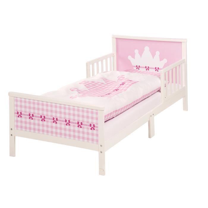 ROBA Lit à thème -Krone-, lit d'enfant 70x140 cm incl. matelas, draps et sommier