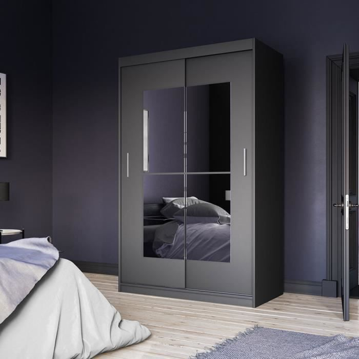 Armoire avec miroir - VANIVA - 120 cm - noir - portes coulissantes