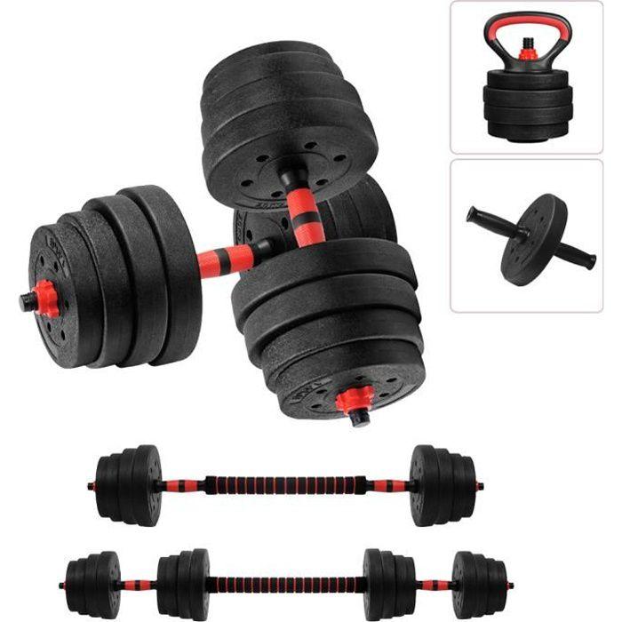 SINBIDE® Kit Haltère Musculation avec barre - Kettlebell - Abdos roue - 4 en 1 Multifonction - 30kg poids réglable