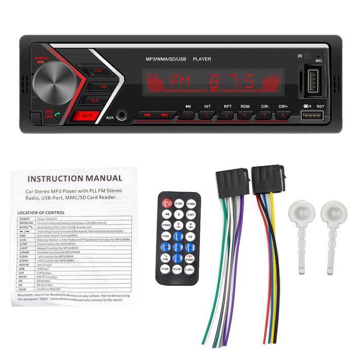 12 V 1Din Radio Voiture Bluetooth Autoradio Voiture StéRéO Radio FM Aux EntréE RéCepteur TF USB Voiture Lecteur MultiméDia
