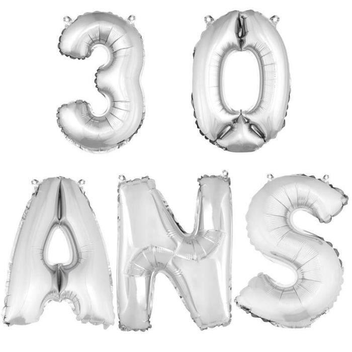 Ballon aluminium anniversaire 30 ans argent (x1)