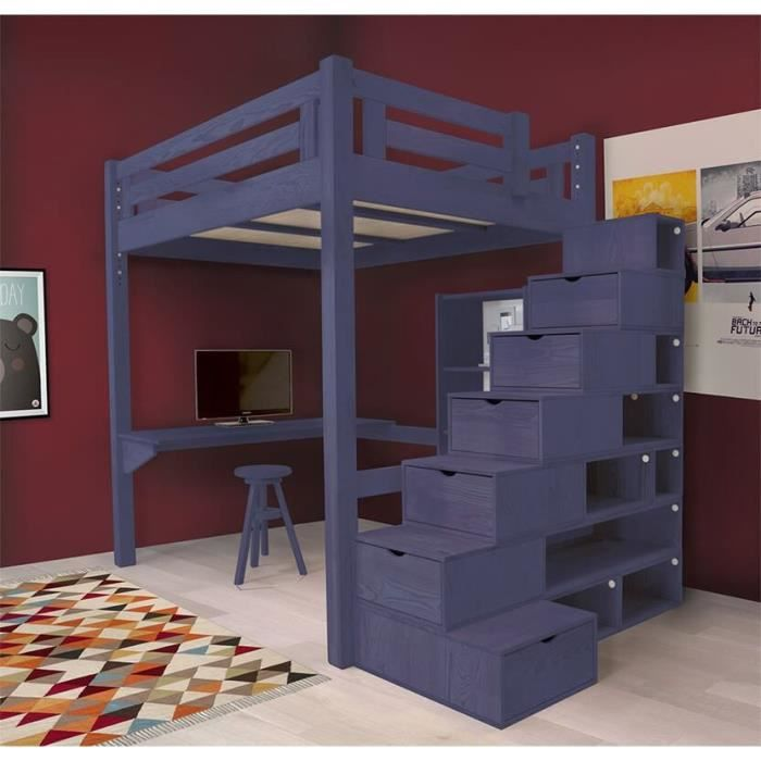 lit mezzanine alpage bois escalier cube hauteur r glable teint bleu fonc 160x200 achat. Black Bedroom Furniture Sets. Home Design Ideas