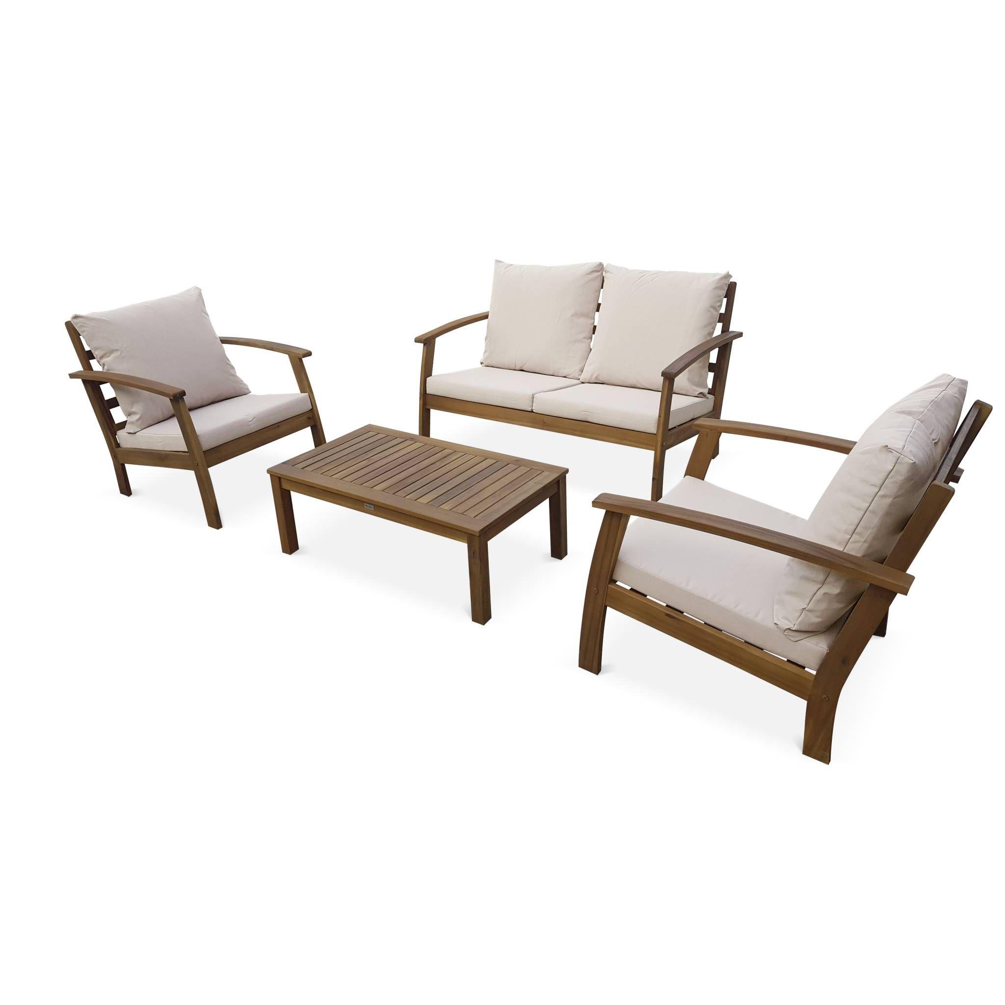 Salon de jardin en bois 4 places - Ushuaïa - Coussins Ecrus ...