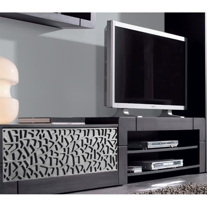 meuble tv patin gris plomb et reliefs contemporain filia argent option rangement lat ral. Black Bedroom Furniture Sets. Home Design Ideas