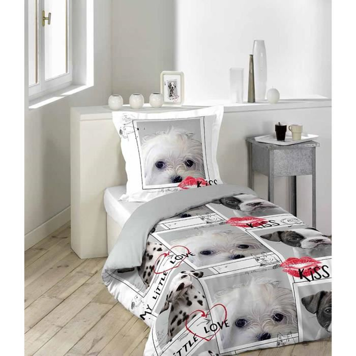 housse de couette 140x200 100 coton love dog gris 1. Black Bedroom Furniture Sets. Home Design Ideas