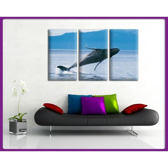 bilderdepot24 impression sur toile baleine bosse 120x80cm 3tlg achat vente tableau. Black Bedroom Furniture Sets. Home Design Ideas