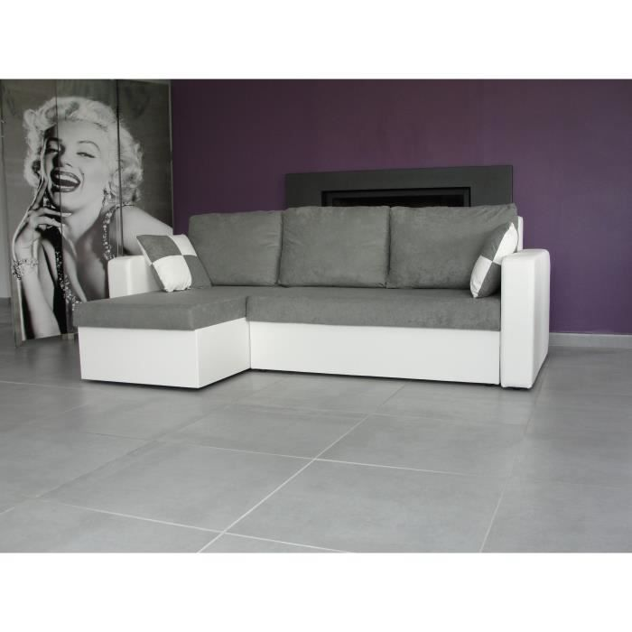 atlas canap d 39 angle convertible blanc gris achat