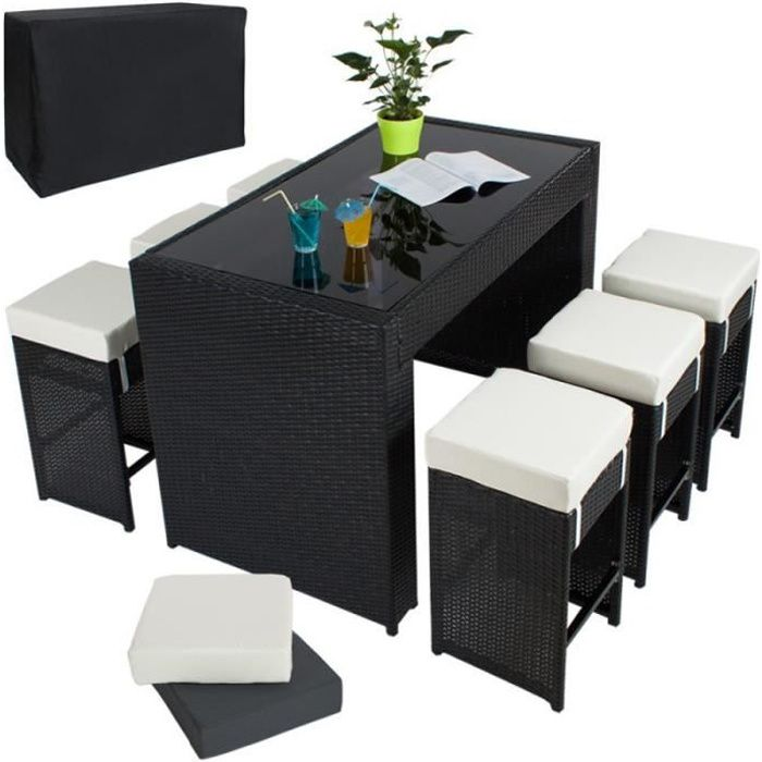 table haute salon de jardin rotin r sine tress synth tique 6 tabourets rotin noir 210814. Black Bedroom Furniture Sets. Home Design Ideas