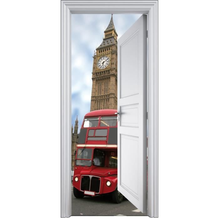 Sticker porte trompe l oeil d co bus anglais 90x200cm for Porte and anglais